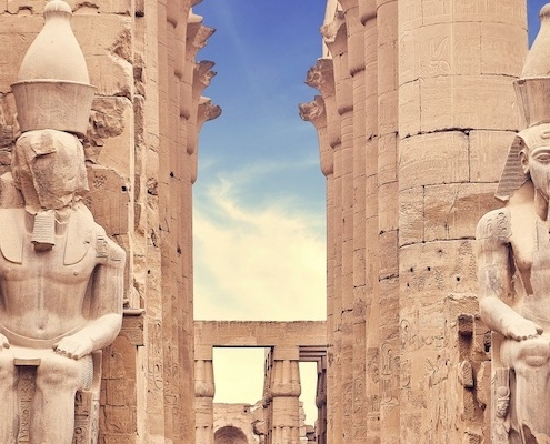 Egypt Tours from India - Statues at the Temple of Amun-Ra, Luxor