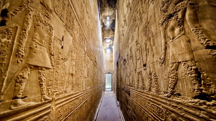 Egypt Tours from UK - Interior of the ancient egyptian Temple of Horus at Edfu, Egypt
